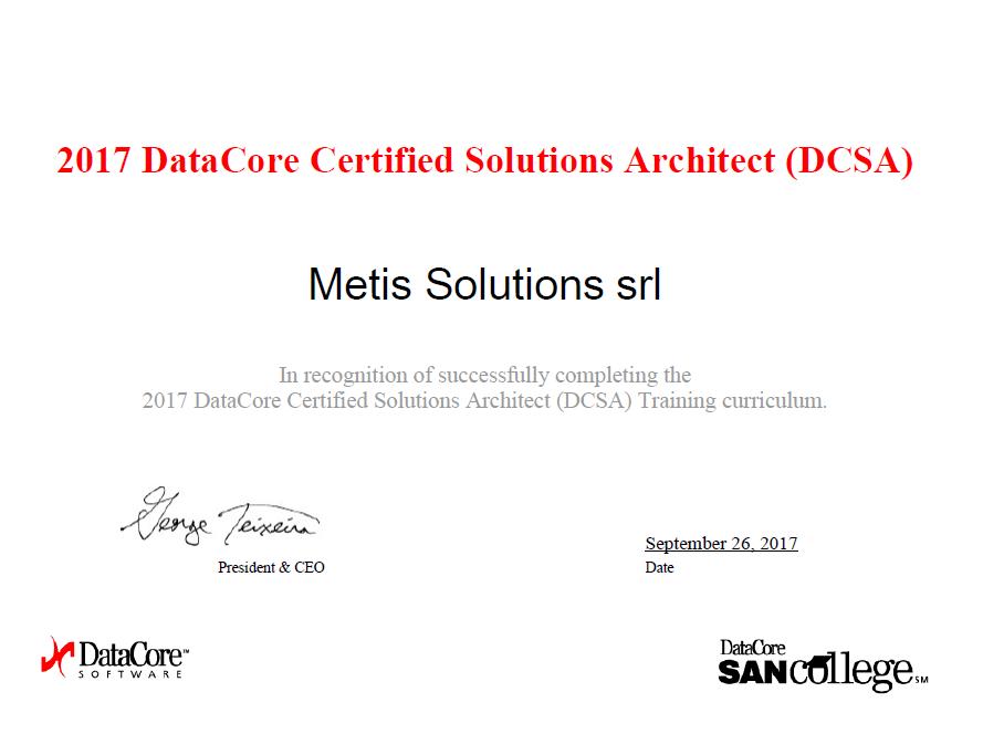 Metis Solutions è certificata Solutions Architect DataCore